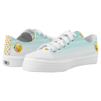 Adorable Winking Smiley Emoji Face Low Tops