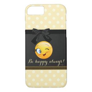 Adorable Winking Smiley Emoji Face,Polka Dots iPhone 8/7 Case