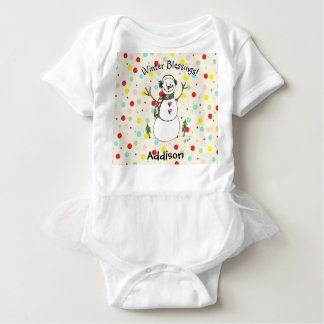 Adorable Winter Blessings Snowman Baby Bodysuit