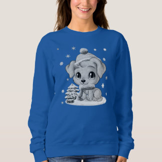Adorable Winter Puppy Womens Blue Sweater for Her