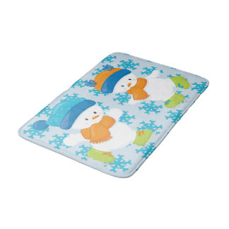 Adorable Winter Theme Snow Babies Bath Mat