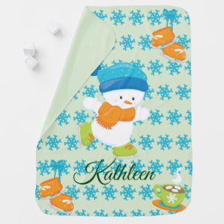 Adorable Winter Theme Snow Baby Snowman Baby Blanket