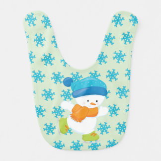 Adorable Winter Theme Snow Baby Snowman Bib