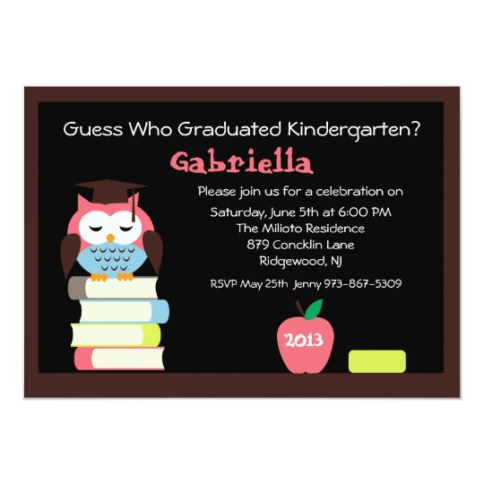 Adorable Wise Owl Kids Graduation Invitation