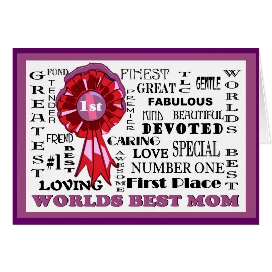 Adorable Word Collage Front Worlds Best Mum Card#3 Greeting Card