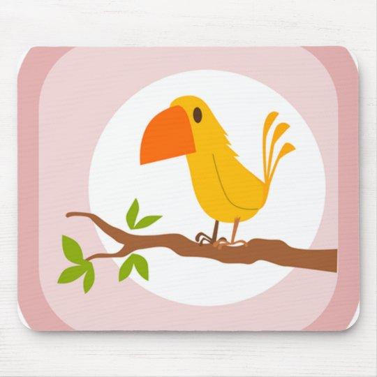 Adorable Yellow Bird on the Branch Mousepad
