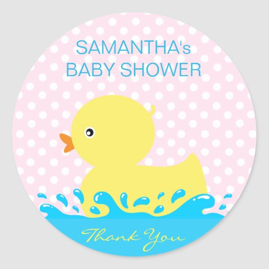 Adorable Yellow Blue Pink Rubber Ducky Baby Shower