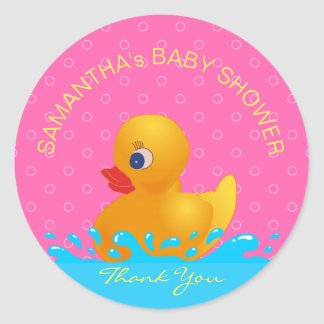 Adorable Yellow Blue Pink Rubber Ducky Baby Shower Classic Round Sticker