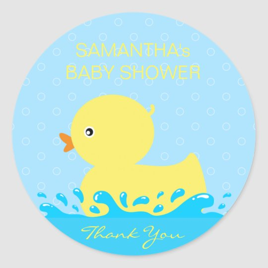 Adorable Yellow Blue Rubber Ducky Baby Shower Classic