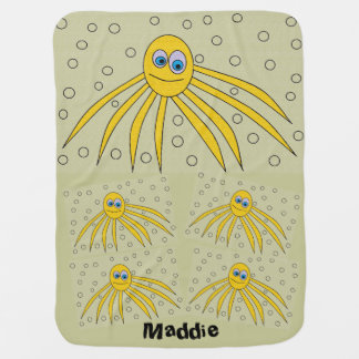 Adorable Yellow Octopus Design Personalized Baby Blanket