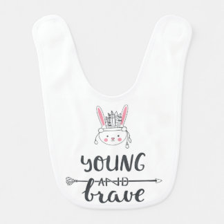 "Adorable ""Young & Brave"" Native American Baby Bib"