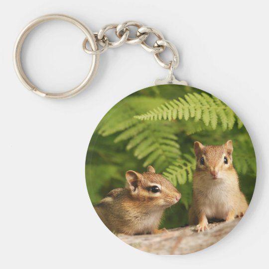 Adorably Curious Baby Chipmunks Key Ring