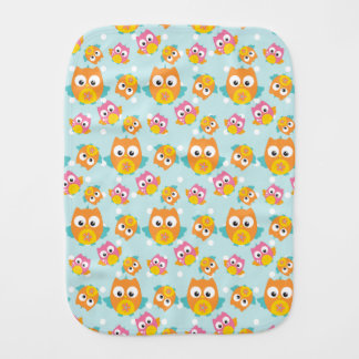 Adorably Cute Orange and Pink Owl Pattern Burp Cloth