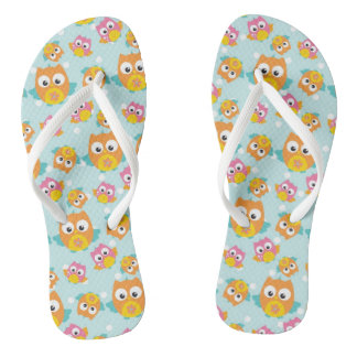 Adorably Cute Orange and Pink Owl Pattern Flip Flops