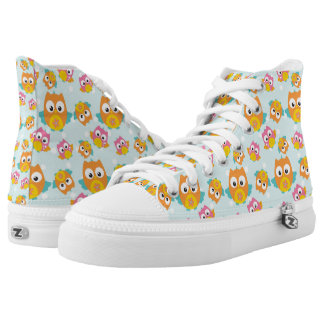 Adorably Cute Orange and Pink Owl Pattern High Tops
