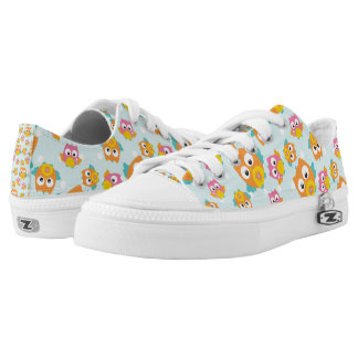 Adorably Cute Orange and Pink Owl Pattern Low Tops