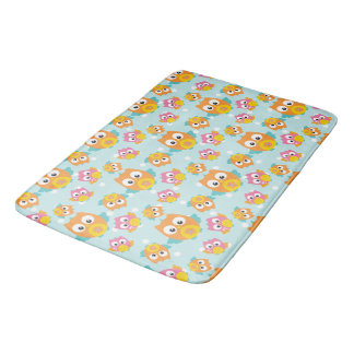 Adorably Cute Orange and Pink Owl Pattern Print Bath Mat