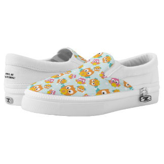 Adorably Cute Orange and Pink Owl Pattern Slip On Shoes