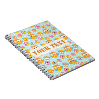 Adorably Cute Orange and Pink Owl Pattern Spiral Notebook