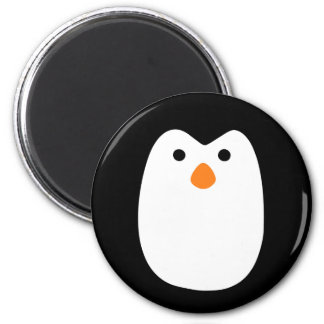 adorably cute penguin face 6 cm round magnet