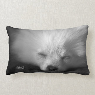 Adorably Cute Snoozing Pomeranian Monogram Throw Pillow