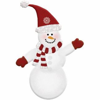 Adorably Cute Snowman Photo Sculpture Decoration