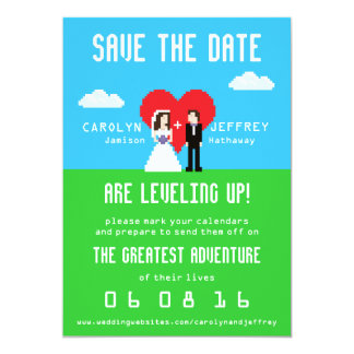 Adorably Nerdy 8-Bit Save the Date 13 Cm X 18 Cm Invitation Card