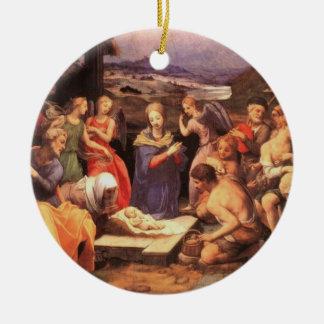 Adoration by the Shepherds by Bronzino Christmas Tree Ornaments