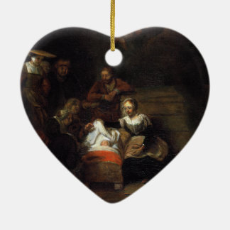 Adoration by the Shepherds by Samuel Hoogstraten Ceramic Heart Decoration
