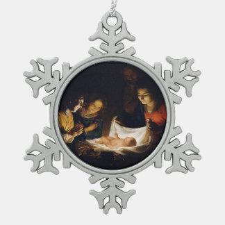 Adoration of Child Adorazion del Bambino Pewter Snowflake Decoration