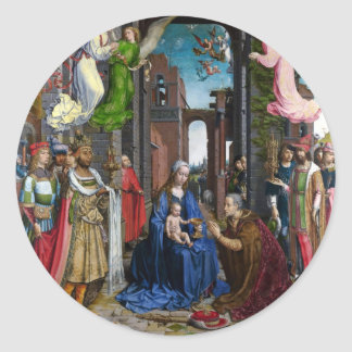 Adoration of Kings by Jan Mabuse Round Sticker
