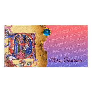 ADORATION OF MAGI CHRISTMAS PARCHMENT Blue Gem Photo Card Template