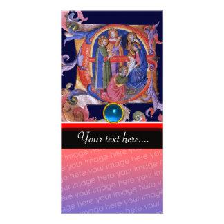 ADORATION OF MAGI CHRISTMAS PARCHMENT Blue Gem Photo Greeting Card