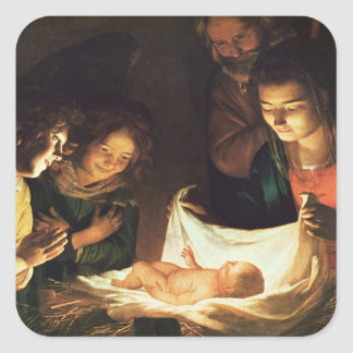 Adoration of the baby, c.1620 square sticker