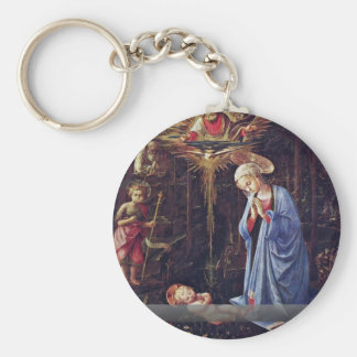 Adoration Of The Child And St. Bernard Key Chain