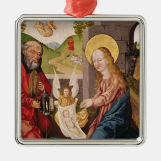 Adoration of the Child Silver-Colored Square Decoration
