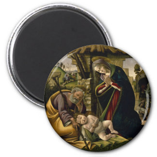 Adoration of the Christ Child by Botticelli 6 Cm Round Magnet