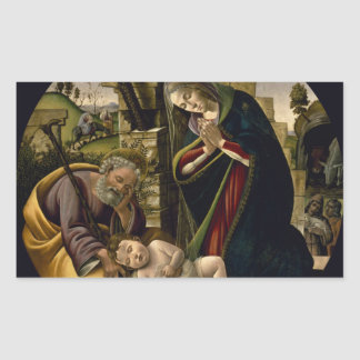 Adoration of the Christ Child by Botticelli Rectangular Sticker