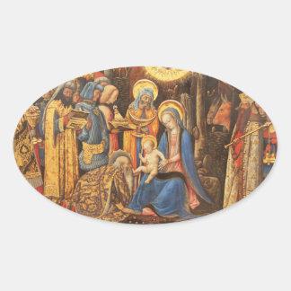 Adoration of the Kings  (Adorazione dei Magi) Oval Sticker