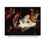 Adoration Of The Shepherd By Gerard Van Honthorst Postcards