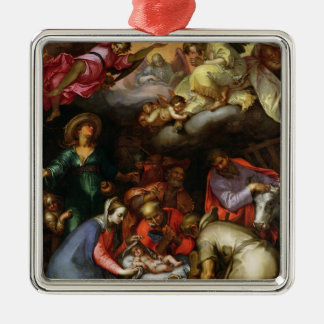 Adoration of the Shepherds, 1612 Silver-Colored Square Decoration