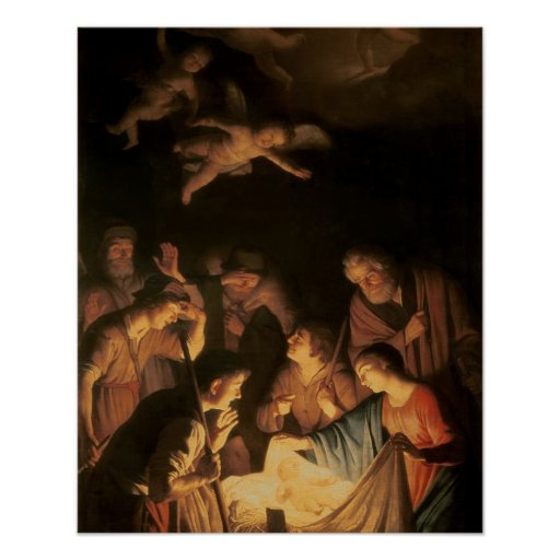 Adoration of the Shepherds, 1617 (oil on canvas) Poster