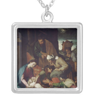 Adoration of the Shepherds, 1630 Silver Plated Necklace