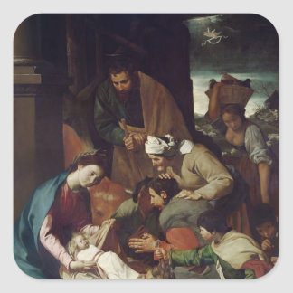 Adoration of the Shepherds, 1630 Square Sticker