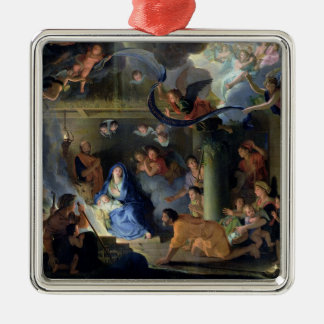 Adoration of the Shepherds, 1689 Silver-Colored Square Decoration