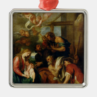 Adoration of the Shepherds 2 Silver-Colored Square Decoration