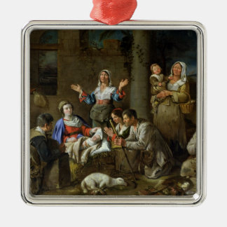 Adoration of the Shepherds, c.1659 Silver-Colored Square Decoration