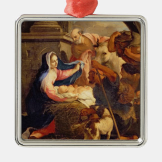 Adoration of the Shepherds Silver-Colored Square Decoration