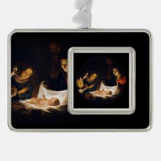 Adorazione del Bambino Adoration of Child Silver Plated Framed Ornament