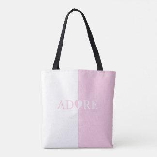ADORE Heart Design Pink White Tote Bag